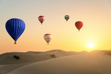 Air Ballons Flying Over Desert...