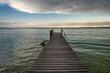 Lake Garda with wooden pier