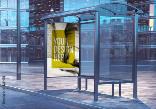 bus stop advertising kiosk mockup on city street 2 buy this stock