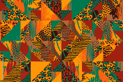 Vászonkép Abstract seamless pattern with animal print.
