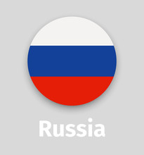 Russian Flag, Round Icon With ...