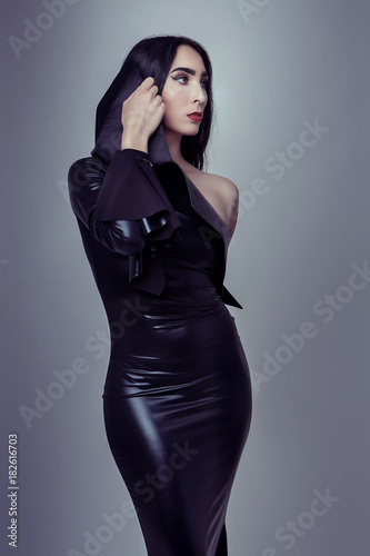 Foto op Plexiglas womenART attractive tattoo girl in black fetish laxex clothes