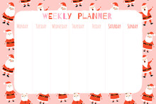 Cute Christmas And Holiday Weekly Organizer With Festive Winter Background Pattern