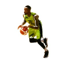 Low Poly Basketball Player Running With Ball, Abstract Vector Illustration