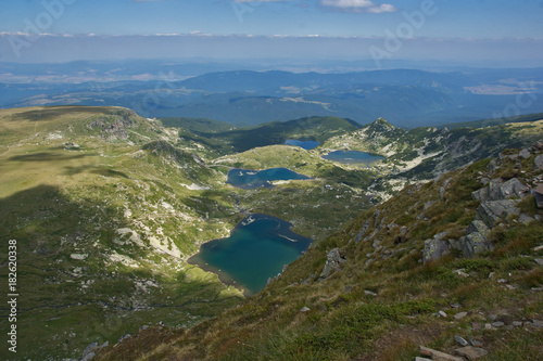 Canvas Prints Blue Amazing Landscape of The fish, The Lower, The Twin and The Trefoil lakes, The Seven Rila Lakes, Bulgaria