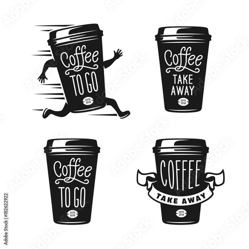 Coffee to go emblems set. Take away coffee labels. Vector vintage illustration. Fototapete