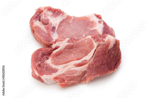 Staande foto Vlees Meat pork slices isolated on the white background.