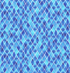 Fototapeta Seamless Hand Drawn Watercolor Ethnic Tribal Pattern. Blue watercolor rhombus on white background.