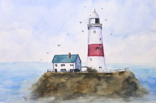 Watercolor Lighthouse Sky And ...