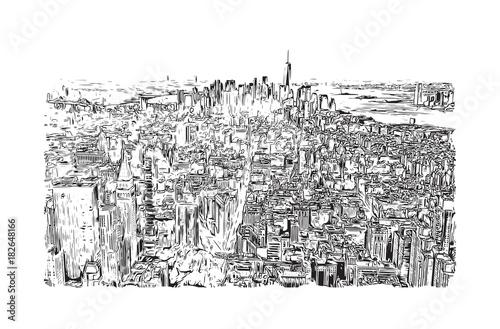 In de dag Art Studio Sketch illustration of New York City, USA in vector.
