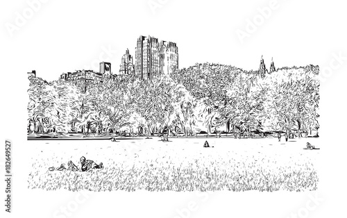 In de dag Art Studio Sketch illustration of Central Park, New York City, USA in vector.