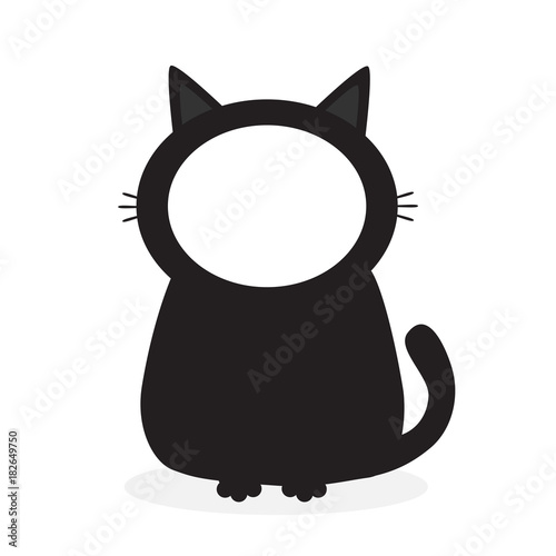 Black Kitten Cat Face Frame Template For Photo Pictute Cute Cartoon Funny Character Kawaii Animal Moustaches Ears Tail Love Greeting Card Flat Design White Background Isolated Buy This Stock Vector And