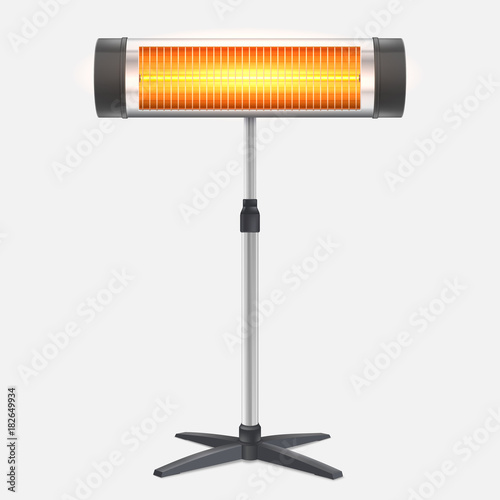 Obraz The quartz halogen heater with the glowing lamp. Domestic electric heater standing on chrome metal stand, isolated on white. Appliance for space heating in the interior, 3D illustration. - fototapety do salonu