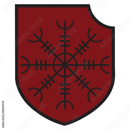 Photo  The ancient European esoteric sign - the black sun and Heraldic shield