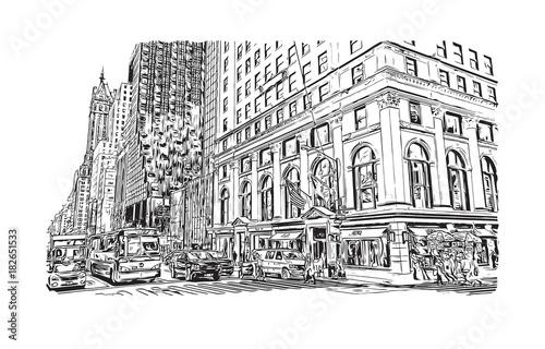 Tuinposter Art Studio Sketch illustration of New York City, USA in vector.