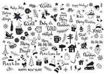 Collection Of Christmas New Years Decoration Items Silhouettes And Outlined Doodles, Xmas Trees, Santa Hats, Gift Box, Snowflakes, Twigs, Branches, House, Car, Mug, Skates And Hand Lettered Quotes