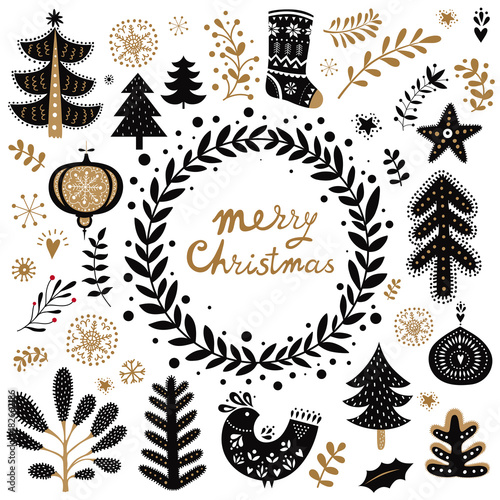 Fotografie, Obraz  Black and gold illustration with decorative elements in Scandinavian style