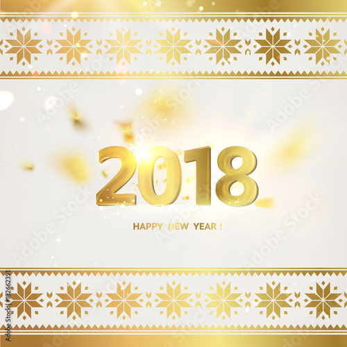 2018 year calendar design template holiday label with numbers and golden confetti over gray backdrop