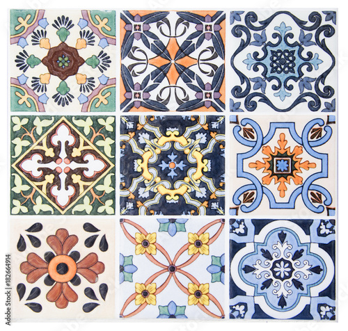 Deurstickers Marokkaanse Tegels Colorful vintage ceramic tiles wall decoration.Turkish ceramic tiles wall background