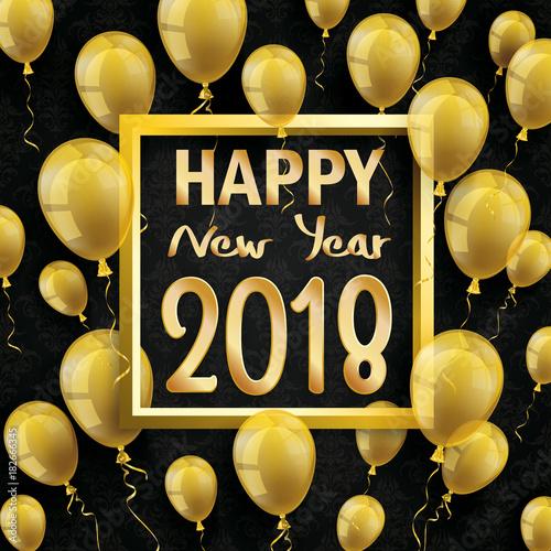 2018 Happy New Year Golden Balloons Black Ornaments