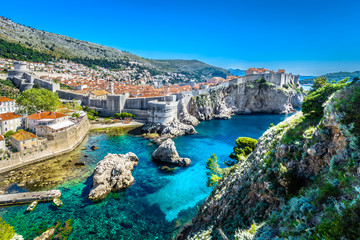 Croatia landscape cityscape Dubrovnik. / Aerial panoramic view at famous european travel destination, Dubrovnik cityscape on Adriatic Coast, Croatia.