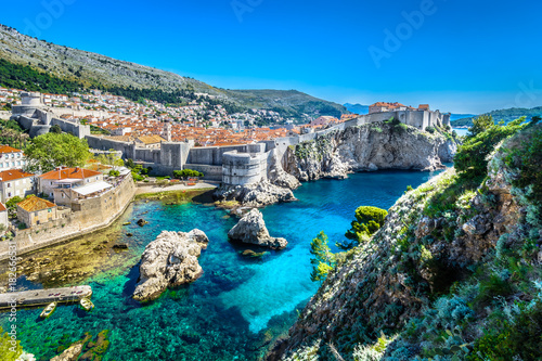 plakat Croatia landscape cityscape Dubrovnik. / Aerial panoramic view at famous european travel destination, Dubrovnik cityscape on Adriatic Coast, Croatia.