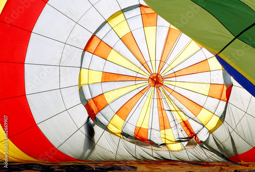 Interior of a hot air balloon being inflated, near Manacor, Mallorca, Balearic Islands, Spain, Europe