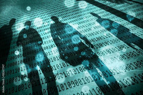 Fotografía Turquoise blue colored shadows of walking people with conceptual binary code numbers background