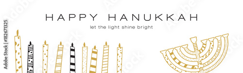 Hanukkah greeting banner , Jewish holiday symbols Fototapete
