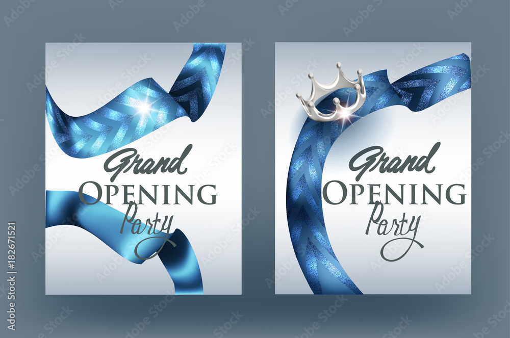 Grand Opening Invitation Card With Blue Ribbons With Pattern