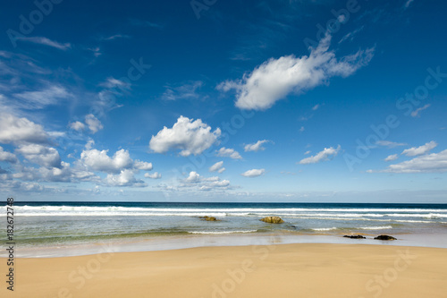 View across the beach and sea at El Cotillo, Fuerteventura, Canary Islands, Spain