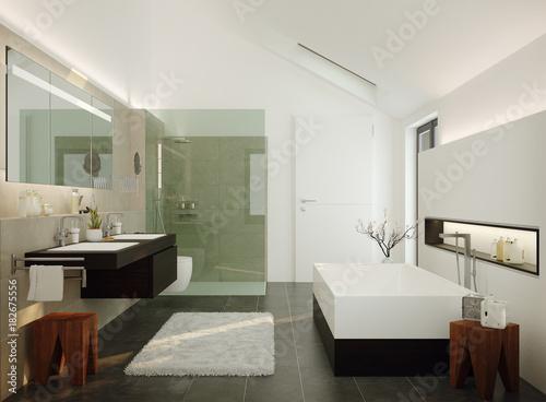 3d illustration of modern luxury wellness bathroom modernes luxus bad in einfamilienhaus