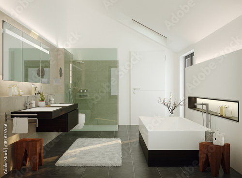 3d Illustration of modern luxury wellness bathroom - modernes Luxus ...