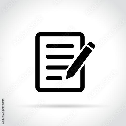 pencil with paper icon - fototapety na wymiar