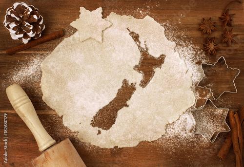 Wallpaper Mural Cookie dough cut as the shape of New Zealand (series)