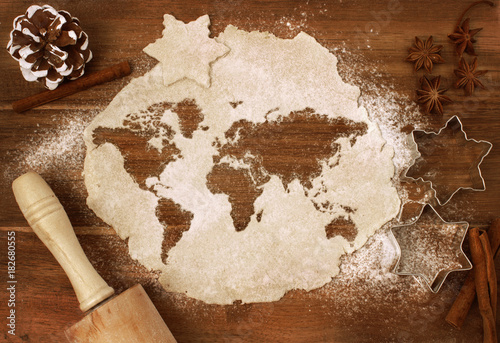 Cookie dough cut as the shape of the world (series)