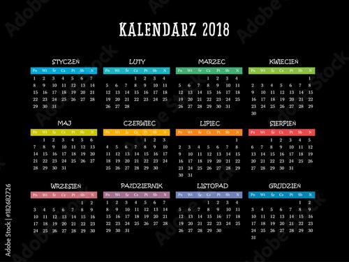 Polish Calendar for 2018, Scheduler, agenda or diary template  Week