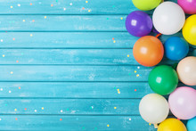 Balloons And Confetti Border. Birthday Or Party Background. Festive Greeting Card.