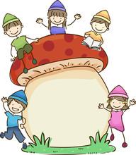 Stickman Kids Dwarves Mushroom...