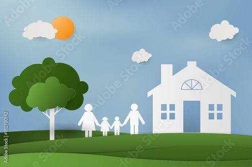 Photo Stands Green coral Family with children in the house. Couple standing outside new home. paper art and craft style.