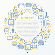 Electricity Concept In Circle ...