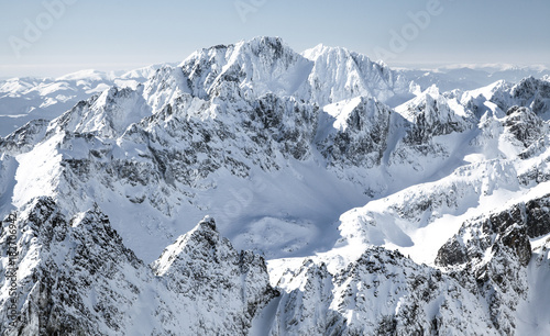Beautiful snowy hills in High Tatras mountains, Slovakia