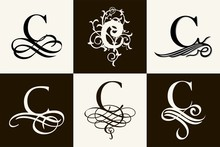 Vintage Set . Capital Letter C For Monograms And Logos. Beautiful Filigree Font. Victorian Style.