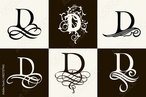Vintage Set   Capital Letter D for Monograms and Logos