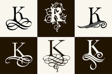 Vintage Set . Capital Letter K For Monograms And Logos. Beautiful Filigree Font. Victorian Style.