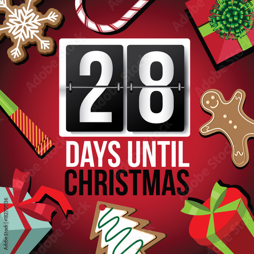 Until Christmas 70 Days Till Christmas.Countdown To Christmas Flip Number Advent Calendar With Flat