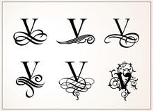 Vintage Set . Capital Letter V...