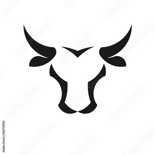 Stampa su Tela abstract simple Bull head vector logo concept illustration, Buffalo head logo,Taurus head logo