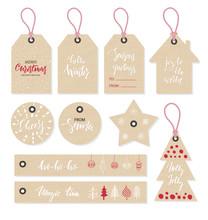 Christmas Tags Set, Hand Drawn...
