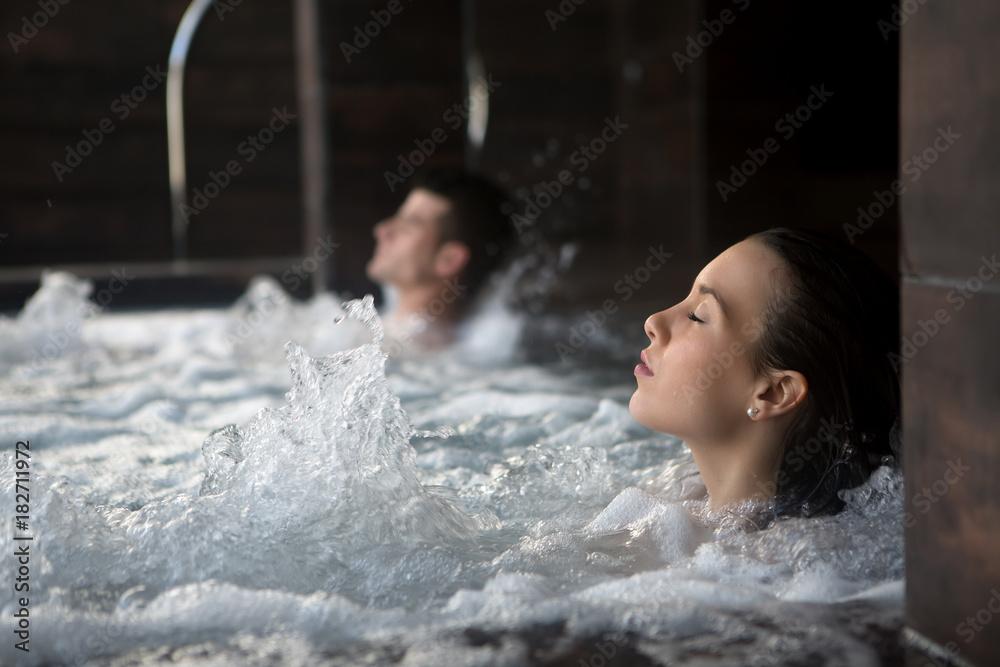 Fototapeta Couple relaxing in spa